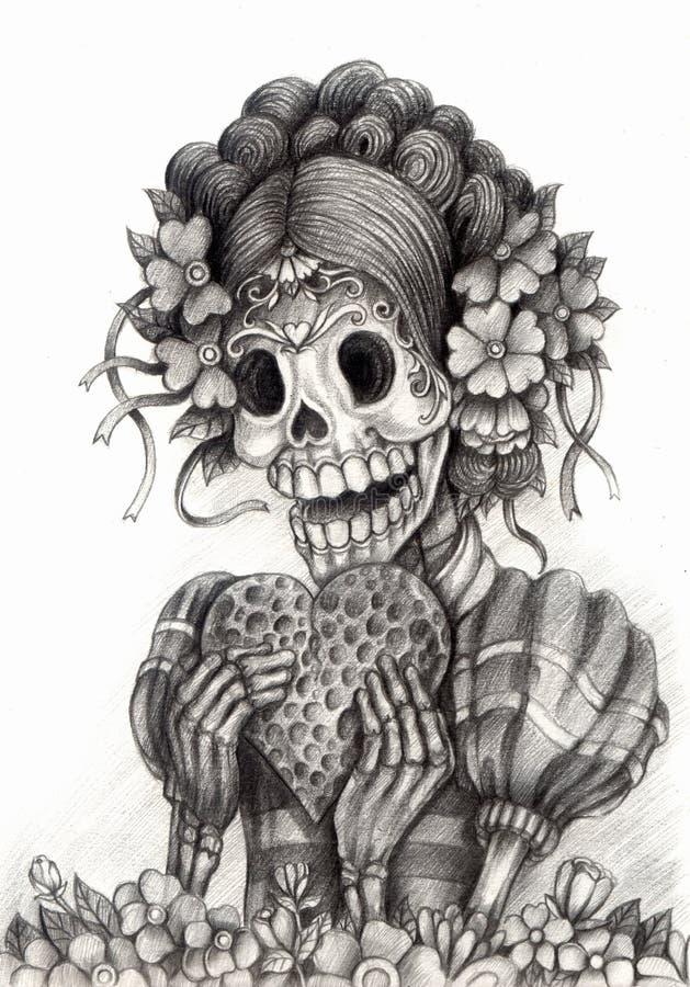 De dag van de schedelkunst van de doden Hand die op papier trekken stock illustratie