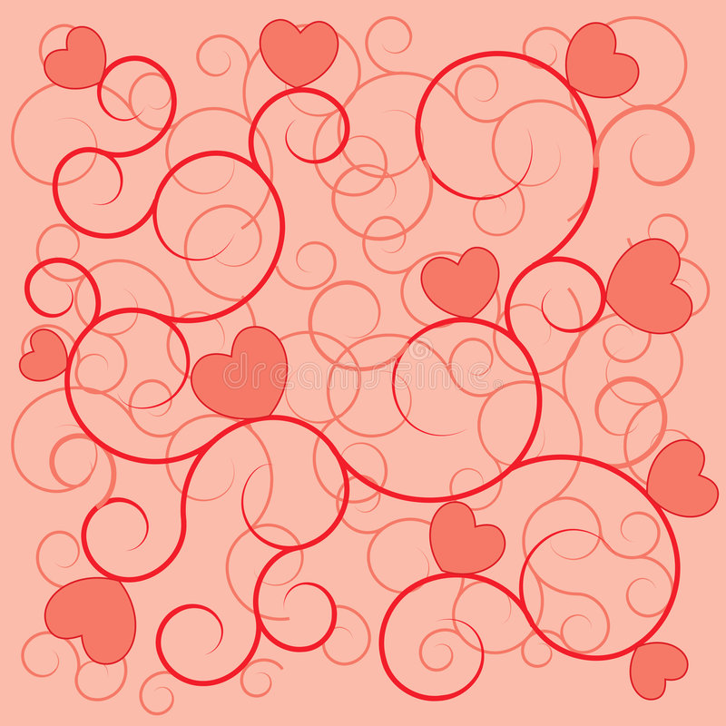 De dag van de valentijnskaart rode harten als achtergrond vector illustratie