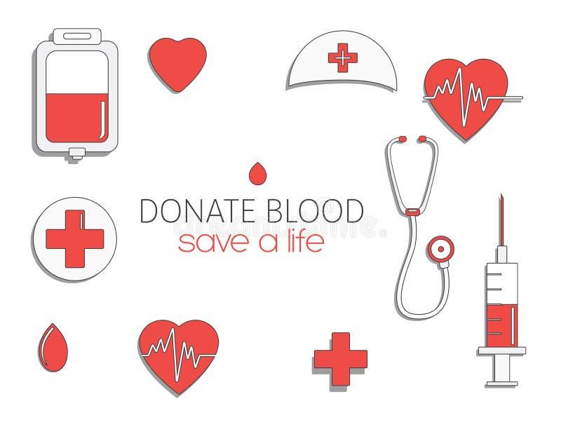De Dag van de wereldBloedgever Internationale vakantie schenk bloed en red het leven De schenking geeft liefde Vector stock illustratie