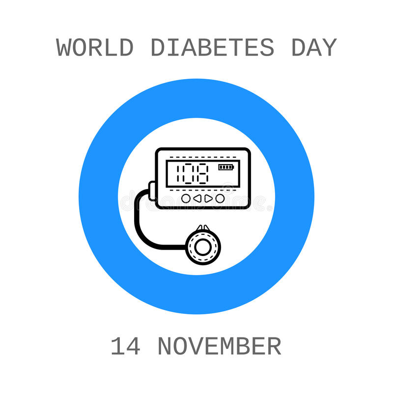 De Dag van de werelddiabetes Apparaat voor insuline Vlak pictogram vector illustratie