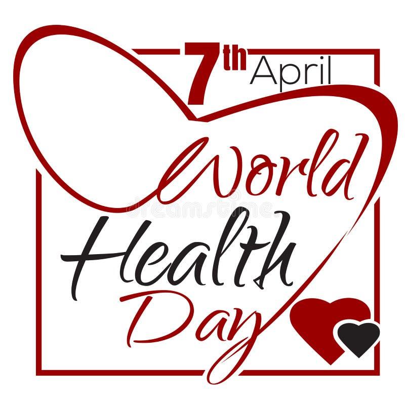De Dag van de wereldgezondheid 7 April De van letters voorziende kaart van de gezondheidsdag vector illustratie