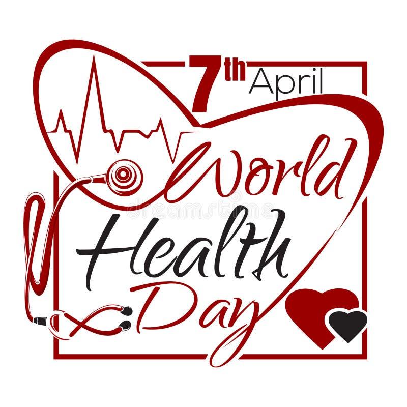 De Dag van de wereldgezondheid De van letters voorziende kaart van de gezondheidsdag vector illustratie