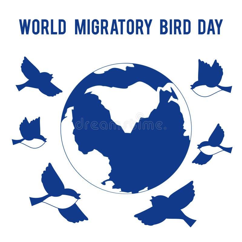 De Dag van de wereldtrekvogel Vogelsvlieg rond de bol Plaats voor tekst vector illustratie
