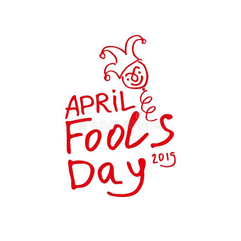 De dag van de dwazen van april De grafiekteller getrokken embleem van de beeldverhaalstijl met een nar op de lente royalty-vrije illustratie