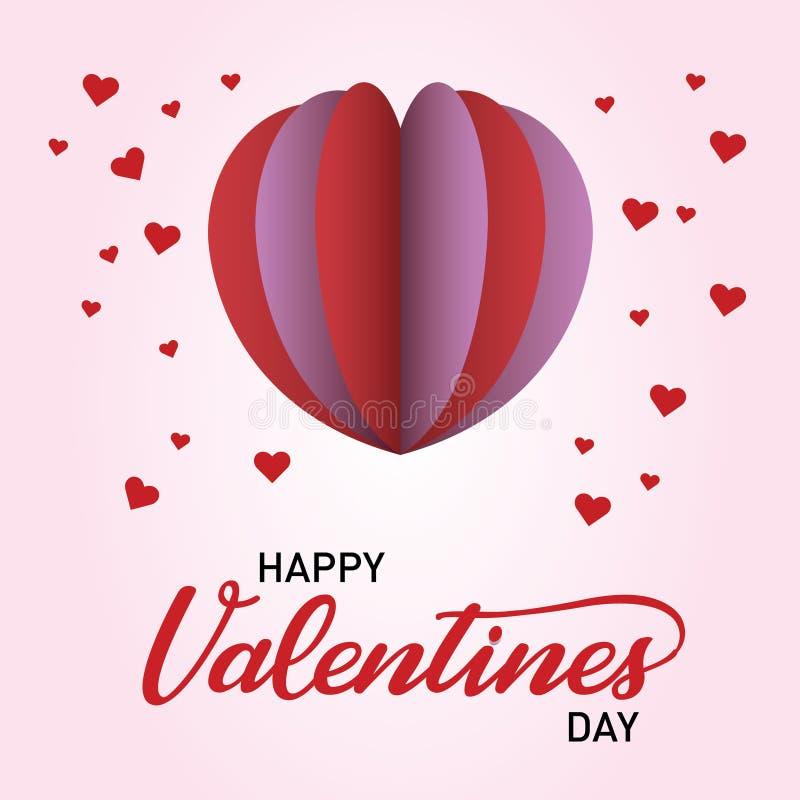 De Dag van gelukkig Valentine met Pop Hart stock illustratie