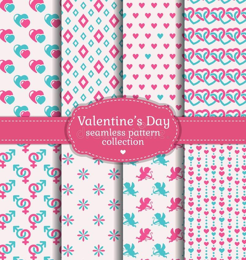 De Dag van gelukkig Valentine! Reeks van liefde en romantisch naadloos patroon vector illustratie