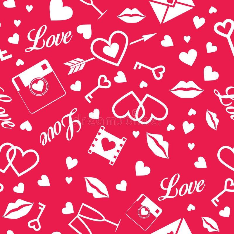 De Dag van gelukkig Valentine! Vector naadloos patroon vector illustratie