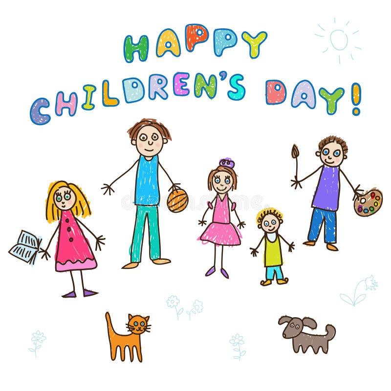 De dag van gelukkige Kinderen! Jonge geitjes het Trekken vector illustratie