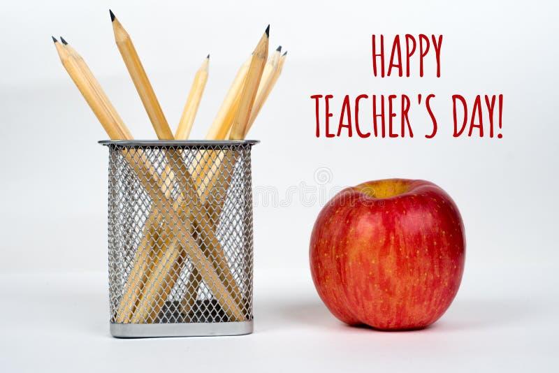 De dag van de gelukkige leraar, eenvoudige groetenkaart stock afbeeldingen