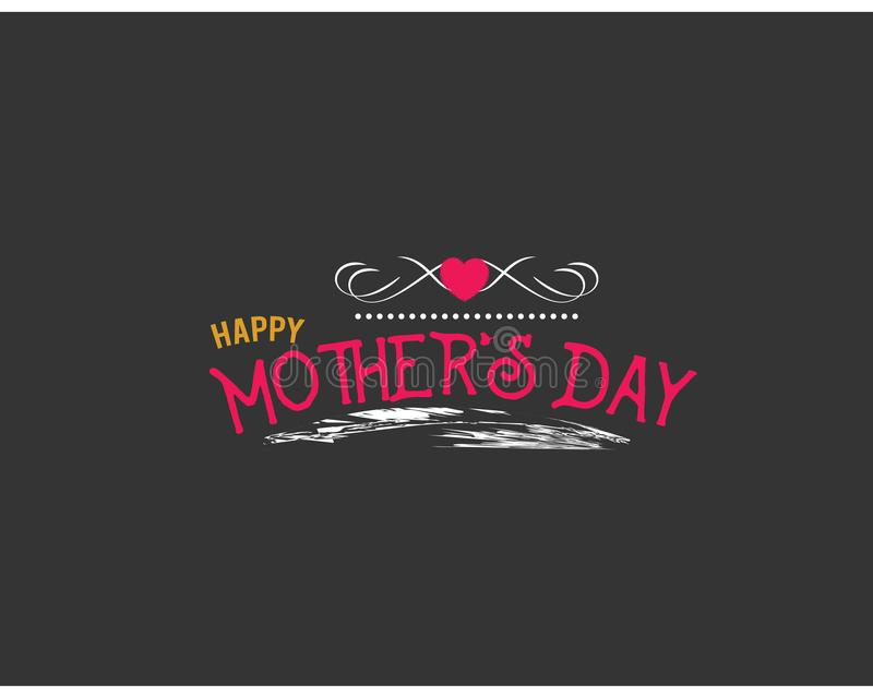 De dag van de gelukkige moeder met zwarte achtergrond royalty-vrije illustratie