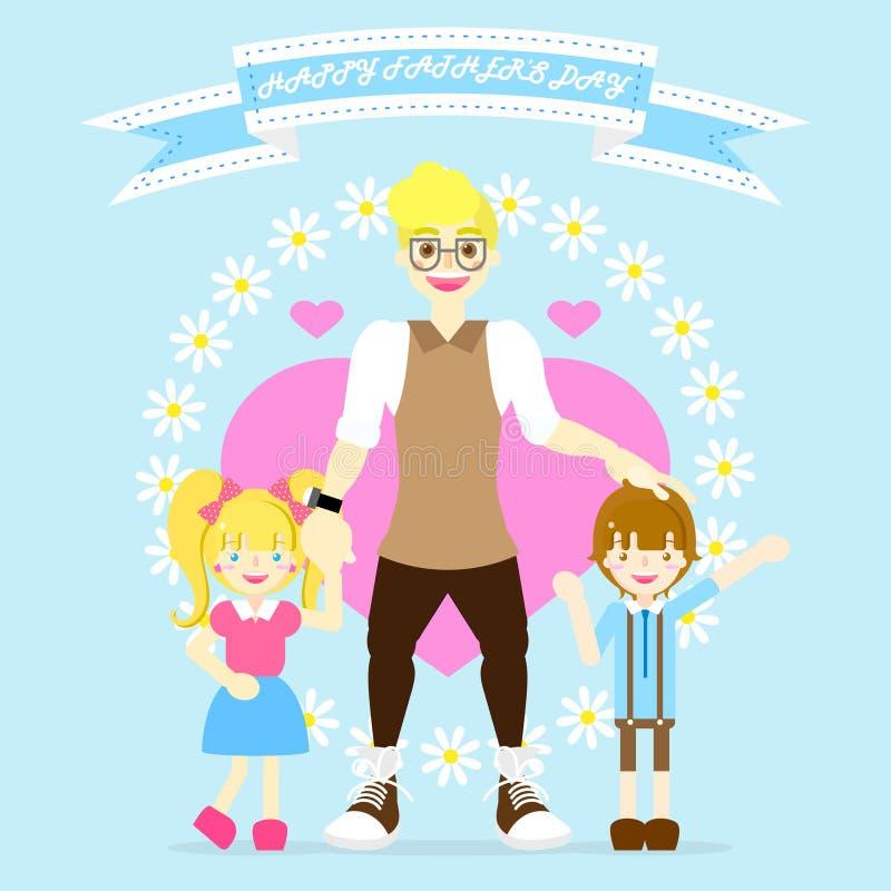 de dag van de gelukkige vader met papa en jongen en meisje, bloem, hart, lintbanner, blauwe achtergrond royalty-vrije illustratie