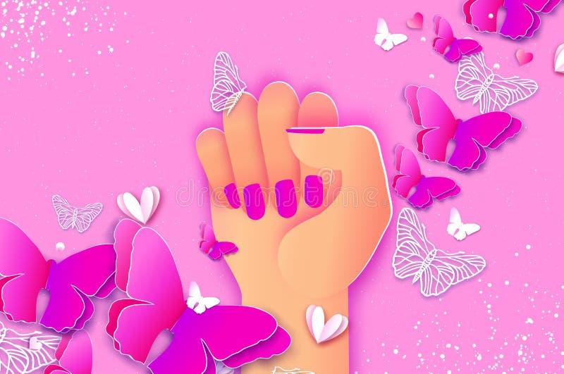 De Dag van gelukkige Vrouwen Omhoog opgeheven vuist Wij kunnen het doen Strijd zoals een meisje, vrouw Vrouwelijk concept en vrou royalty-vrije illustratie