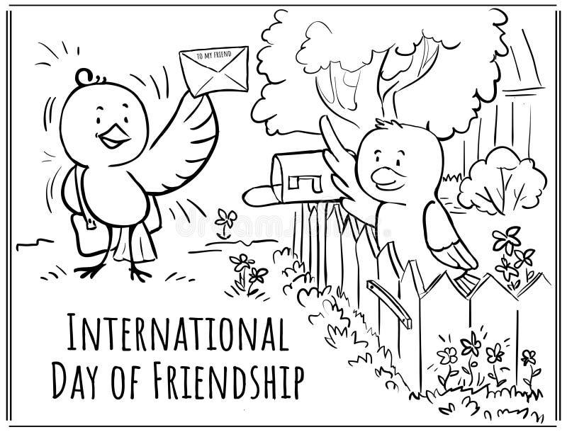 De Dag van de groetkaart van vriendschapsvogels - de brievenbesteller brengt vector illustratie