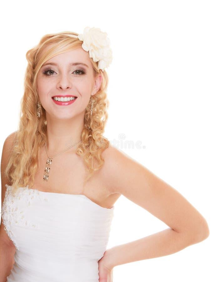 De dag van het huwelijk Geïsoleerde bruid van de portret de gelukkige vrouw royalty-vrije stock foto's