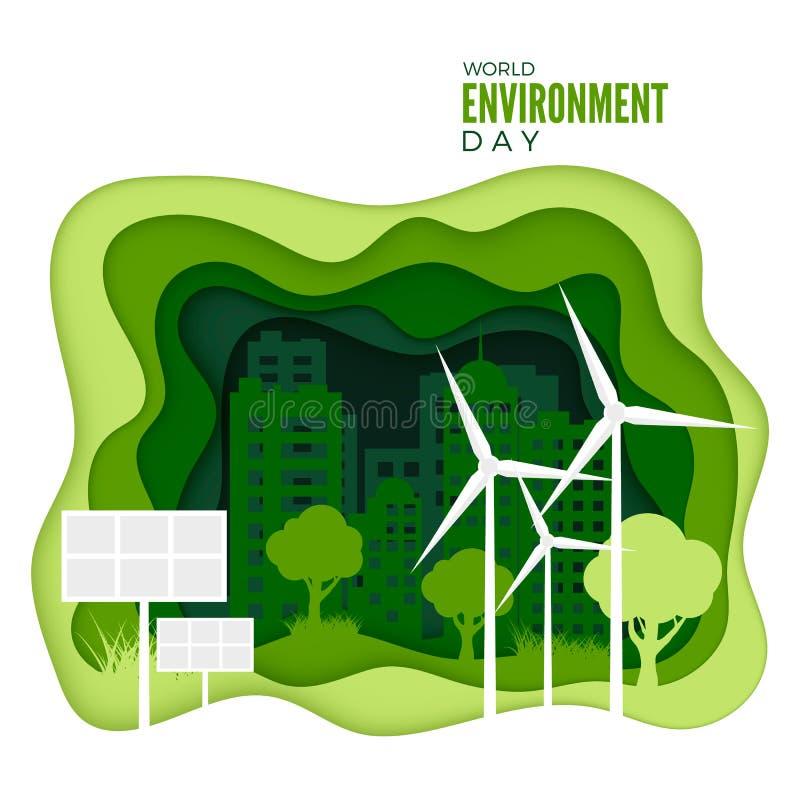 De Dag van het Milieu van de wereld Abstract groen stadsconcept De banner van het ecologieconcept met document sneed groene textu royalty-vrije illustratie