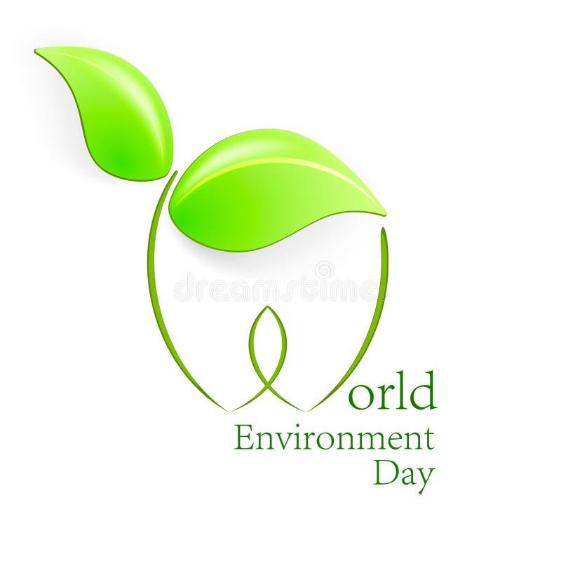 De Dag van het Milieu van de wereld Groene bladerenvormen met schaduw Vectorillustratie voor de Dag van het Wereldmilieu vector illustratie