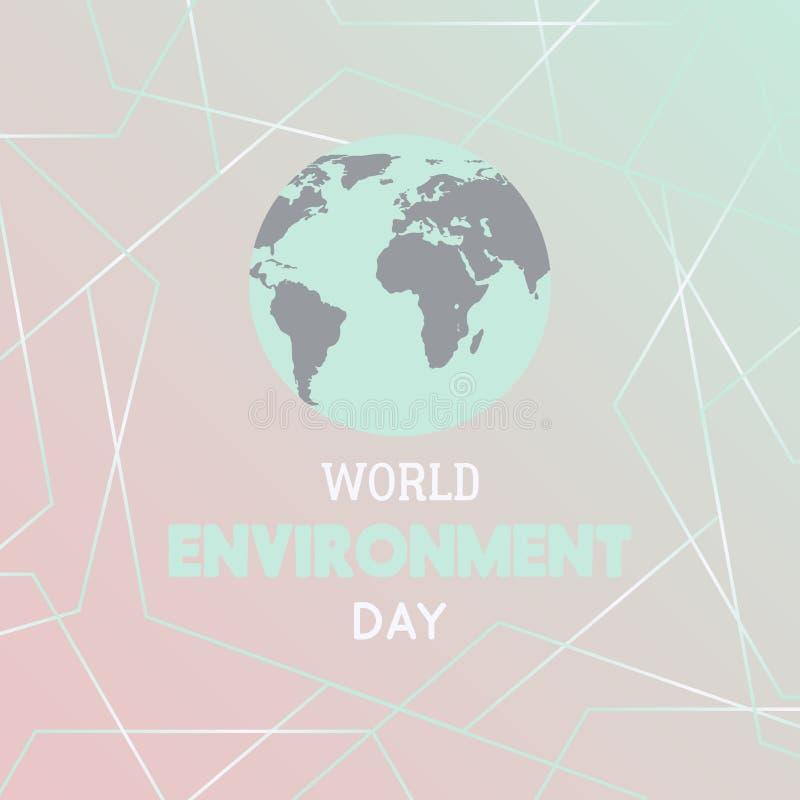 De Dag van het Milieu van de wereld Typografieaffiche met Aardebol en veelhoekige geometrische vormen stock illustratie