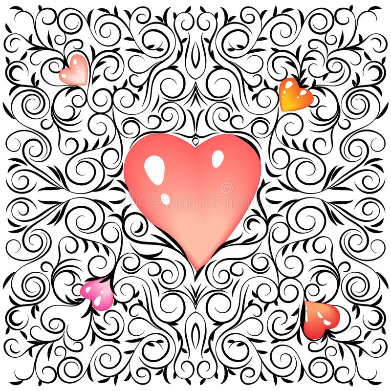 De Dag van het ornamentvalentijnskaarten van de krabbelschets met zachte roze vage harten Vector illustratie stock illustratie