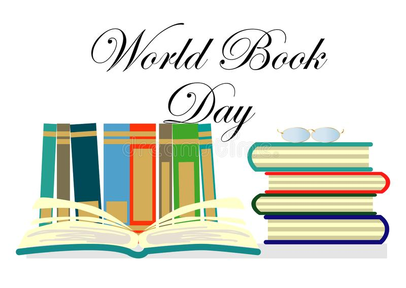 De Dag van het wereldboek, 23 April Het open concept van de boekenverbeelding stock illustratie