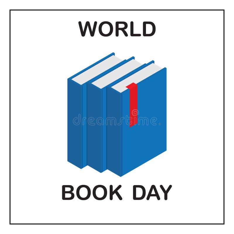 De dag van het wereldboek Beeld van drie blauwe boeken met een rood lusje stock illustratie