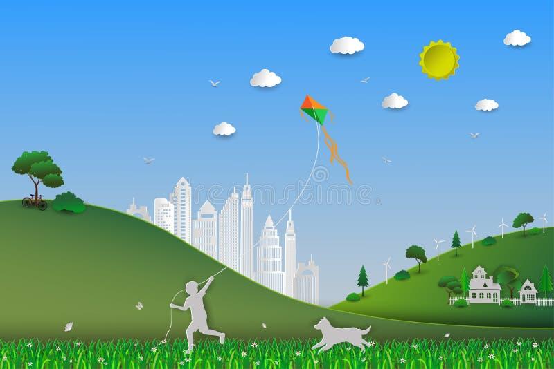 De dag van het wereldmilieu, concept eco vriendschappelijk sparen de aarde en aard, kind het spelen vlieger in de weide met hond vector illustratie