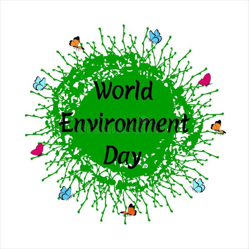 De Dag van het wereldmilieu het van letters voorzien uitdrukking op Aardeachtergrond met vlinders vector illustratie