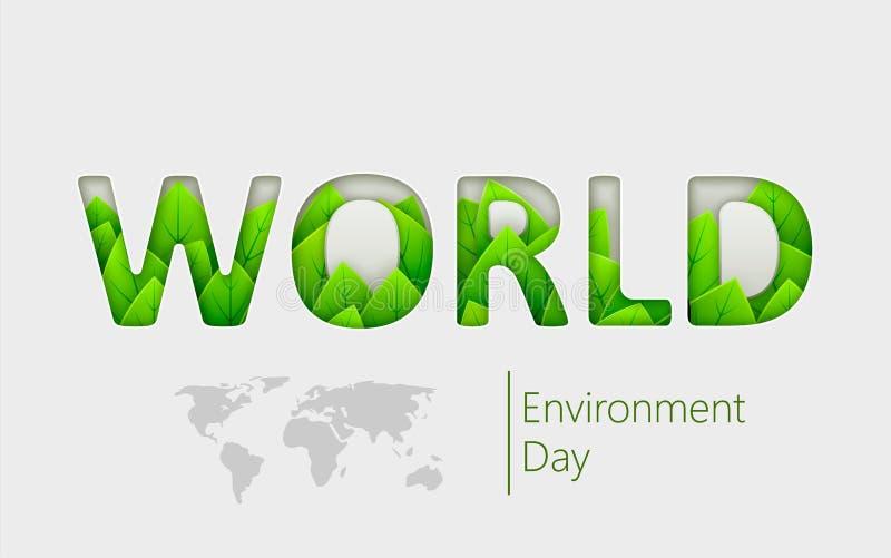De dag van het wereldmilieu met mooie groene bladeren binnen tekst Vectorillustratie voor ecologie, groen milieu, royalty-vrije illustratie