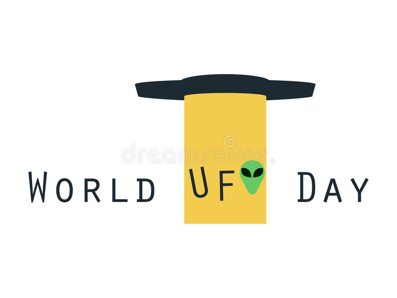 De Dag van het wereldufo, UFO met straal, vreemde abductie UFO UFOpictogram stock illustratie