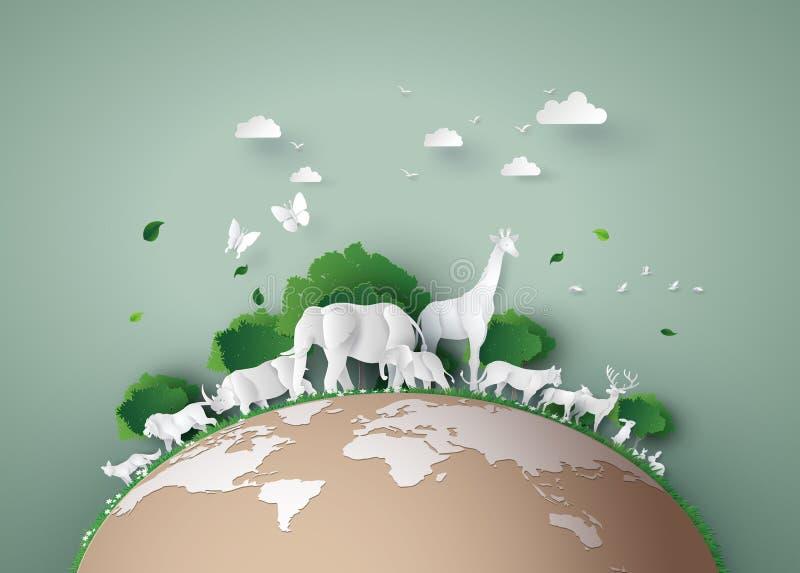 De dag van het wereldwild stock illustratie
