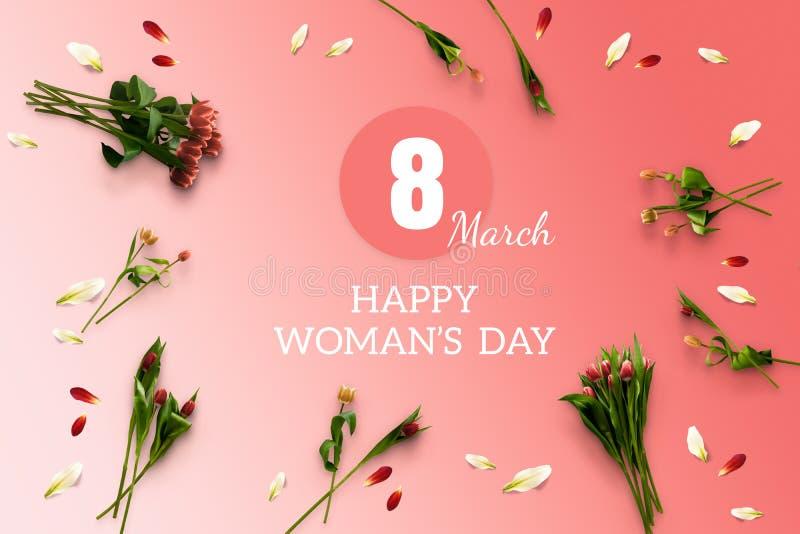 De Dag van de de kaart Gelukkige Vrouw van de de lentegift 8 van Maart Internationale vakantie stock afbeeldingen