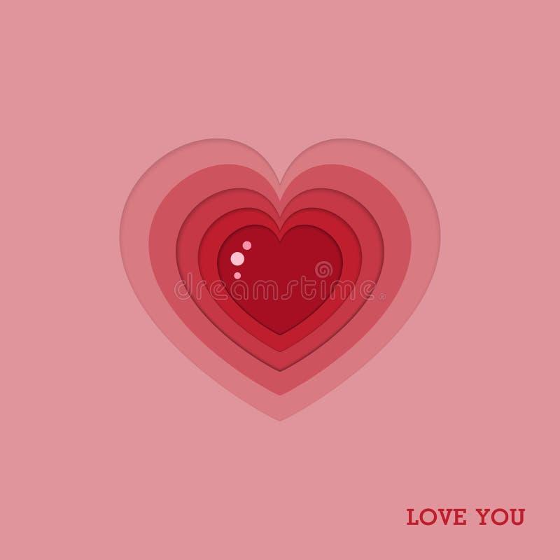 De dag van de kaartvalentine ` s van het hartpictogram op abstracte achtergrond met liefdetekst, Vector royalty-vrije illustratie