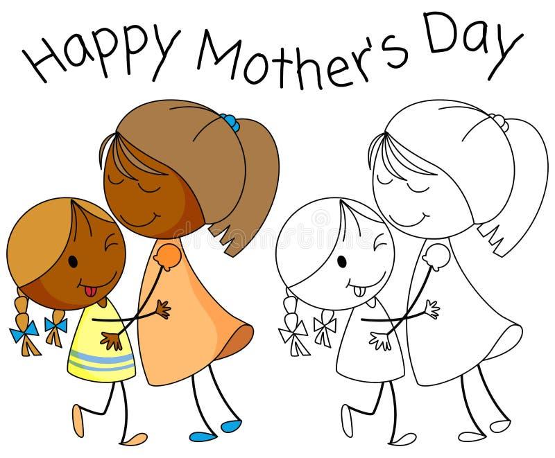 De dag van de krabbel gelukkige moeder royalty-vrije illustratie