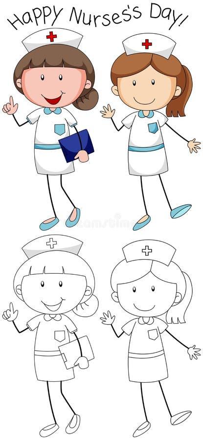 De dag van krabbel gelukkige verpleegsters vector illustratie