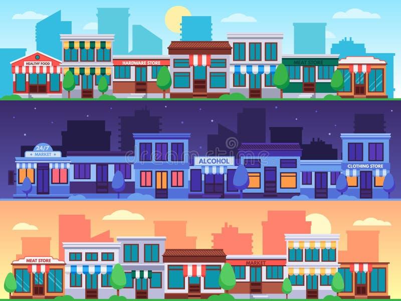De dag van de medio-herfst bij dongmen Kleine cityscape van winkelstraten, stadsweg met de winkelsbouw en de vectorillustratie va vector illustratie