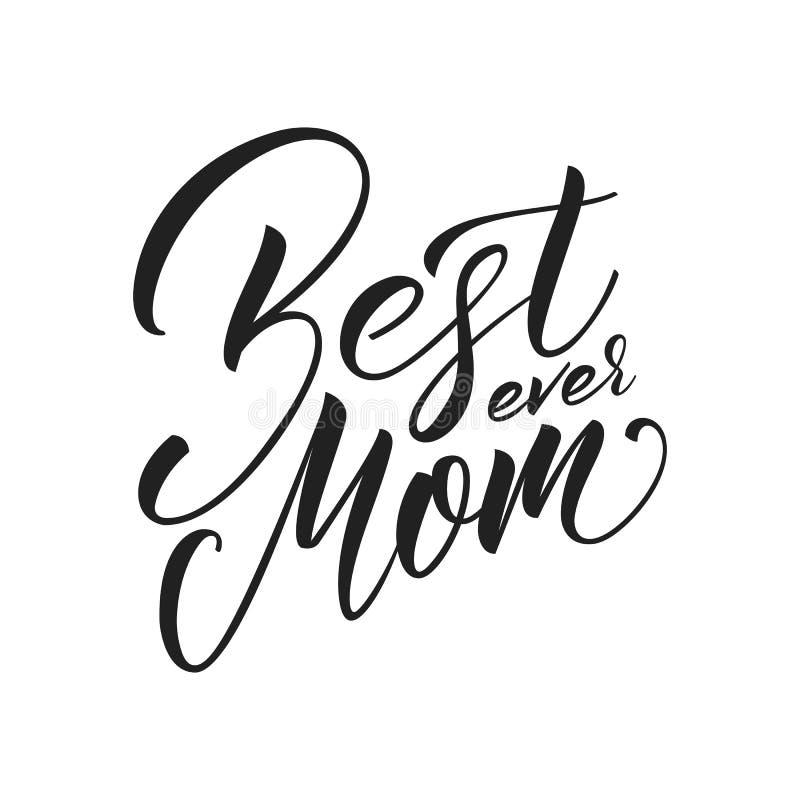 De dag van moeders De groetkaart van de moeder` s Dag met Beste Mamma die ooit van letters voorzien royalty-vrije illustratie