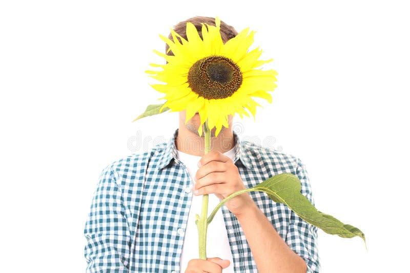 De dag van moeders Jonge die mens met zonnebloem op wit wordt geïsoleerd Spot omhoog De ruimte van het exemplaar De zomer royalty-vrije stock foto