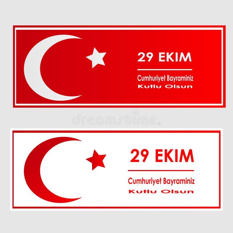 De Dag van de republiek van van het de Vieringskenteken van Turkije Nationale van de het Webbanner de brochurevlieger 29 Oktober  vector illustratie