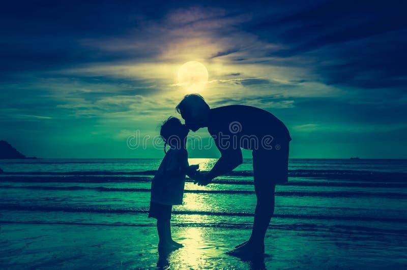 De dag van de vader `s Silhouet zijaanzicht van het houden van van kind die haar F kussen royalty-vrije stock afbeelding