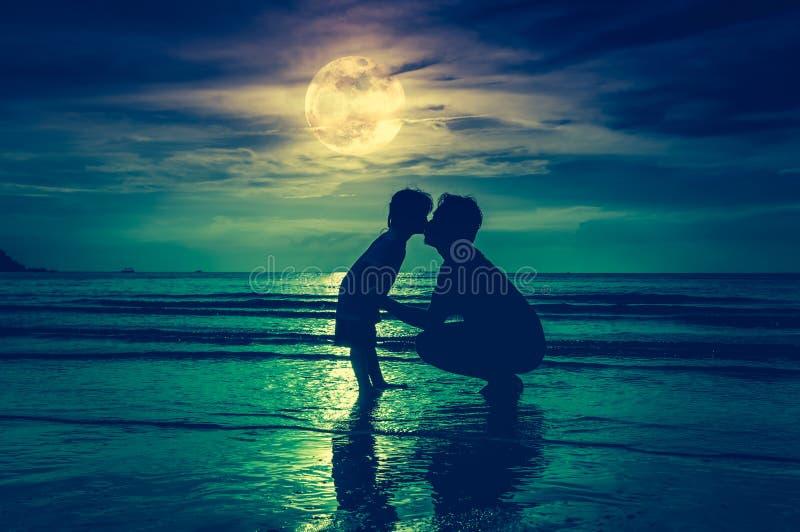 De dag van de vader `s Silhouet zijaanzicht van het houden van van kind die haar F kussen royalty-vrije stock fotografie