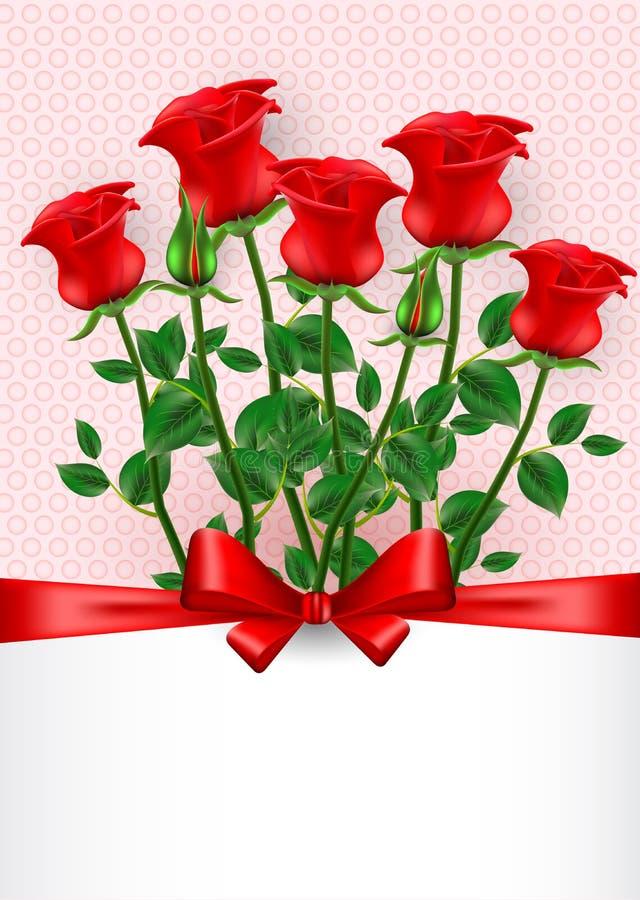 De dag van de valentijnskaart `s De kaart van de groet met rode rozen royalty-vrije illustratie