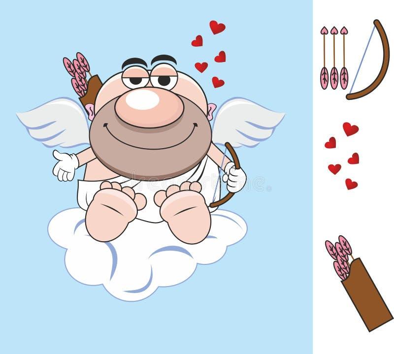 De dag van de valentijnskaart `s pijl Hart het rode grote hart van de de vleugelsliefde van de liefdeengel Gift brief cupid cupid stock fotografie