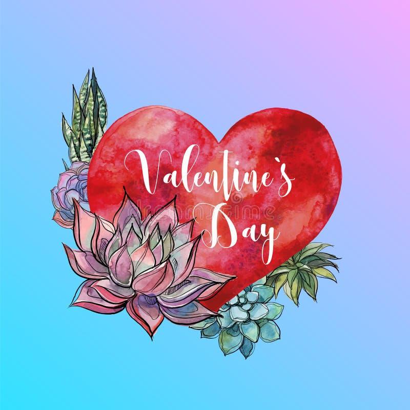 De dag van de valentijnskaart `s Waterverfhart en succulents lettering Vector royalty-vrije illustratie
