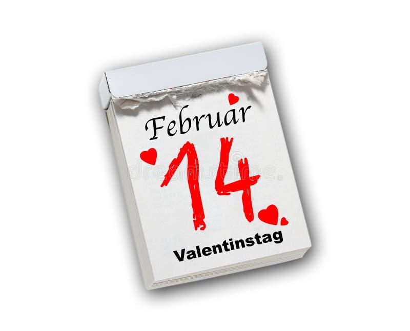 De Dag van Valentine, 14 Februari, geïsoleerde afscheuringskalender royalty-vrije stock foto