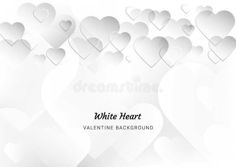 De Dag van Valentine van de hartliefde, witte achtergrond, groetkaart, tekstruimte, affiches, brochure, banners, Behangwebsite stock illustratie