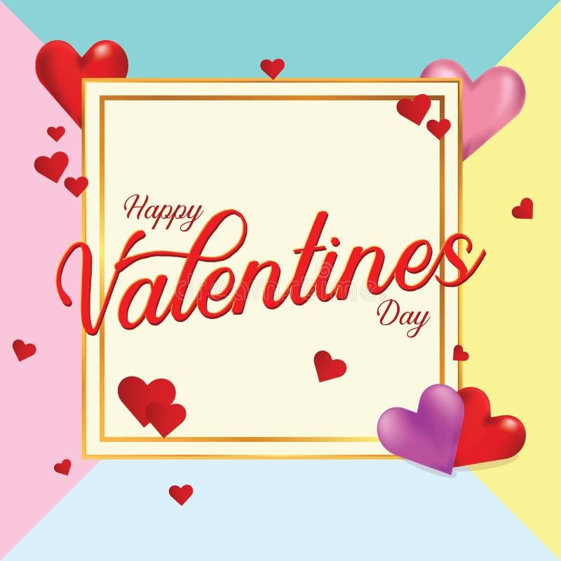 De Dag van Valentine met Kleurenachtergrond royalty-vrije illustratie