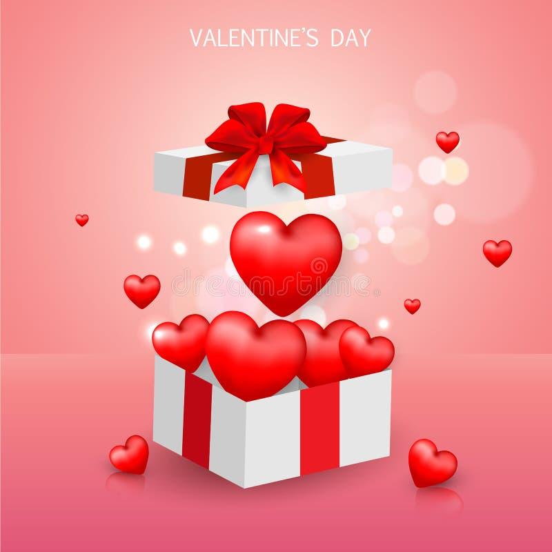 De dag van Valentine ` s van de giftdoos, het malplaatje van de Verkoopbanner rood en Wit hart met het van letters voorzien op ac vector illustratie