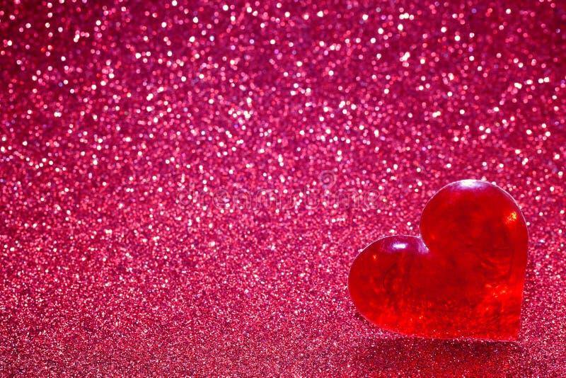 De dag van Valentine ` s schittert achtergrond en hart stock afbeelding