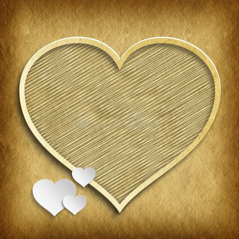 De Dag van Valentine - vormen van harten op met de hand gemaakte document achtergrond stock illustratie