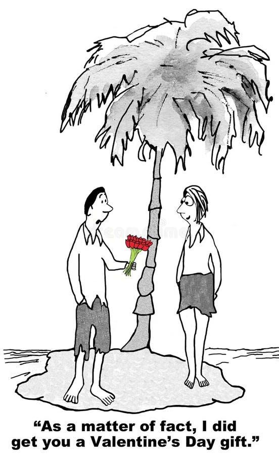De Dag van Valentine zelfs op een Verlaten Eiland stock illustratie