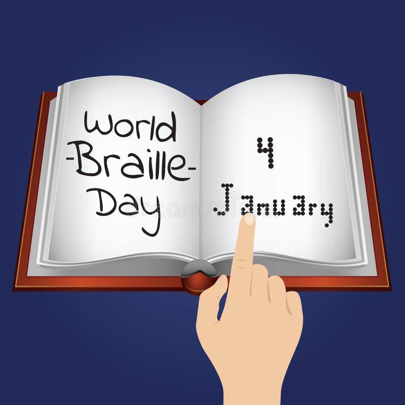 De Dag van wereldbraille, 4 Januari vector illustratie